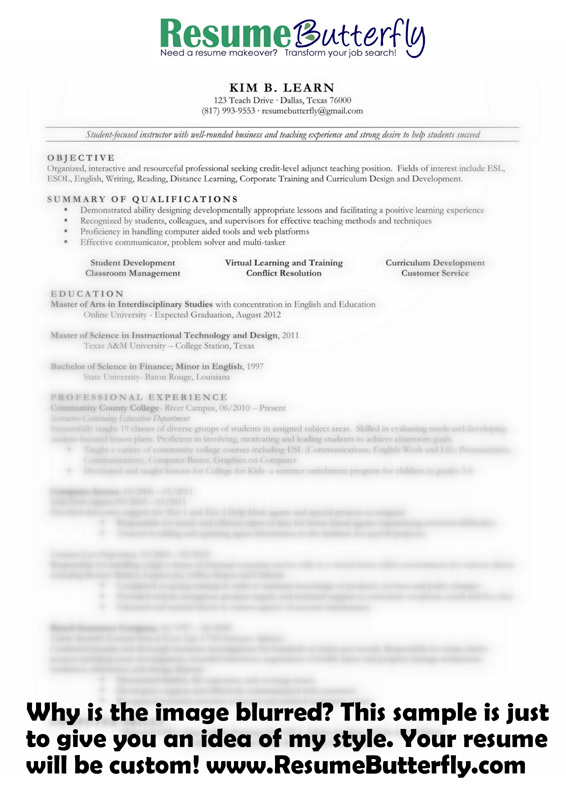 Resume Makeover - AFTER - Resume Butterfly com - College Instructor
