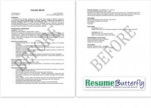Resume Makeover - BEFORE - Resume Butterfly com - Marketing - Branding