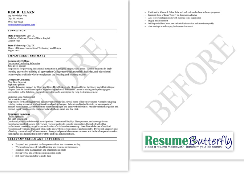 Resume Makeover   BEFORE   Resume Butterfly Com   College Instructor  Updating Resume