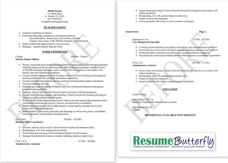 Resume Makeover   BEFORE   Resume Butterfly Com   Finance  Business Owner Job Description For Resume