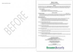 Resume Makeover - BEFORE - from scratch - Resume Butterfly com - Manager - Six Sigma