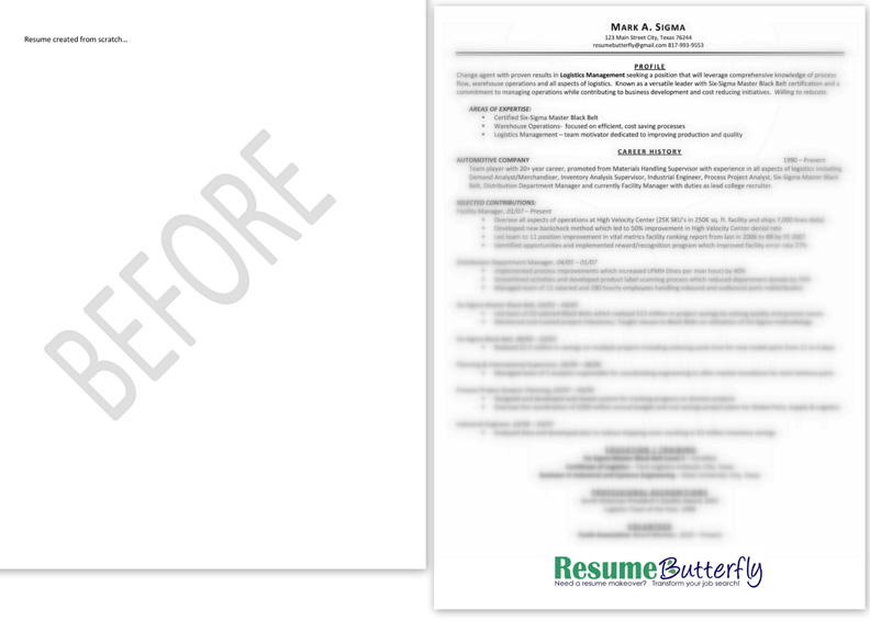 Resume Makeover   BEFORE   From Scratch   Resume Butterfly Com   Manager    Six Sigma  Promotion Resume Sample