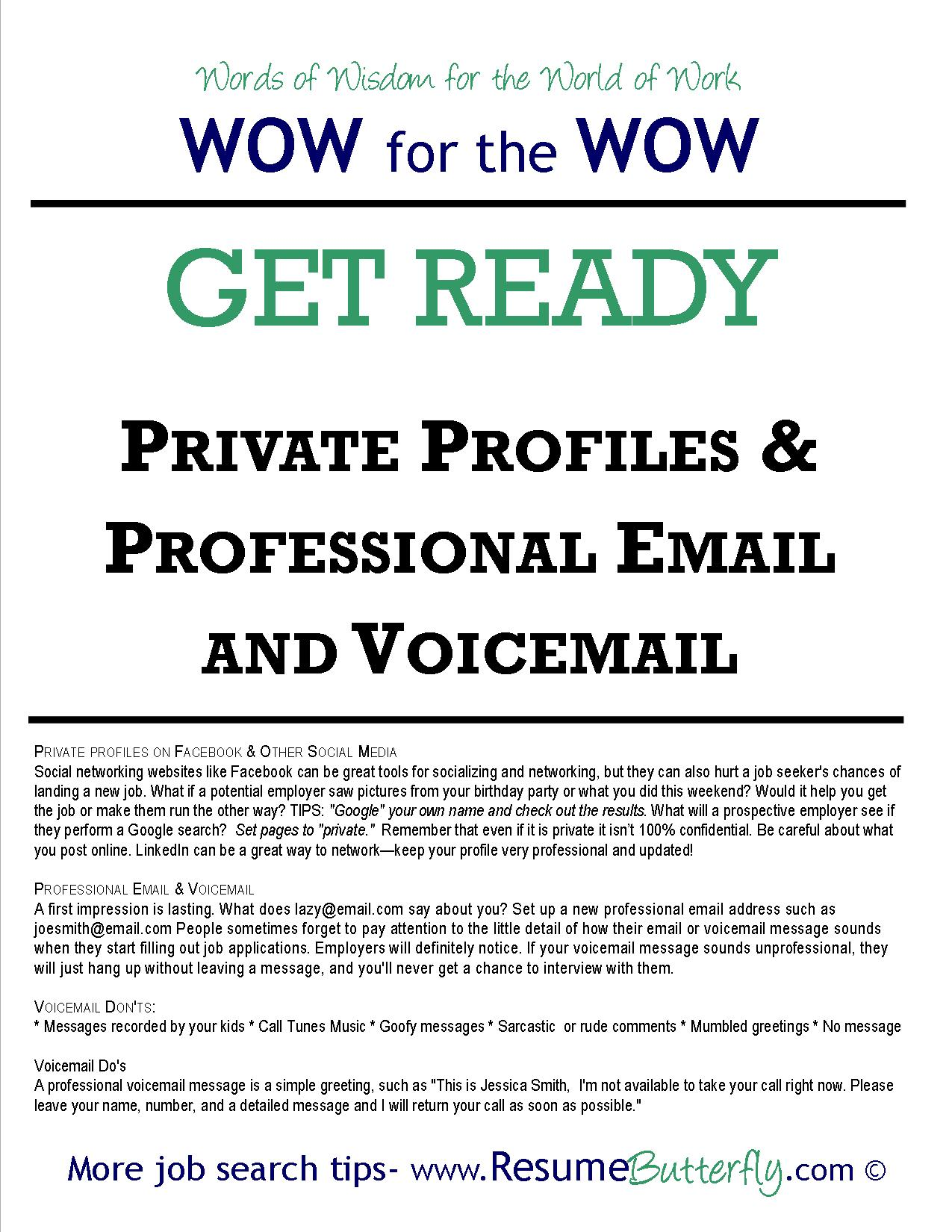 PRIVATE PROFILES & PROFESSIONAL EMAIL AND VOICEMAIL - Resume Butterfly
