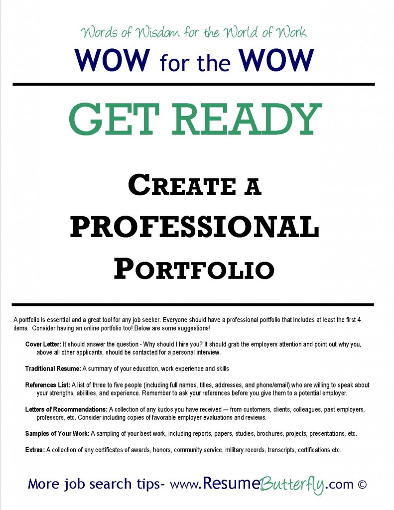 Job Search Portfolio - Job Search Skills - Resume Butterfly - Get Ready - Professional Portfolio