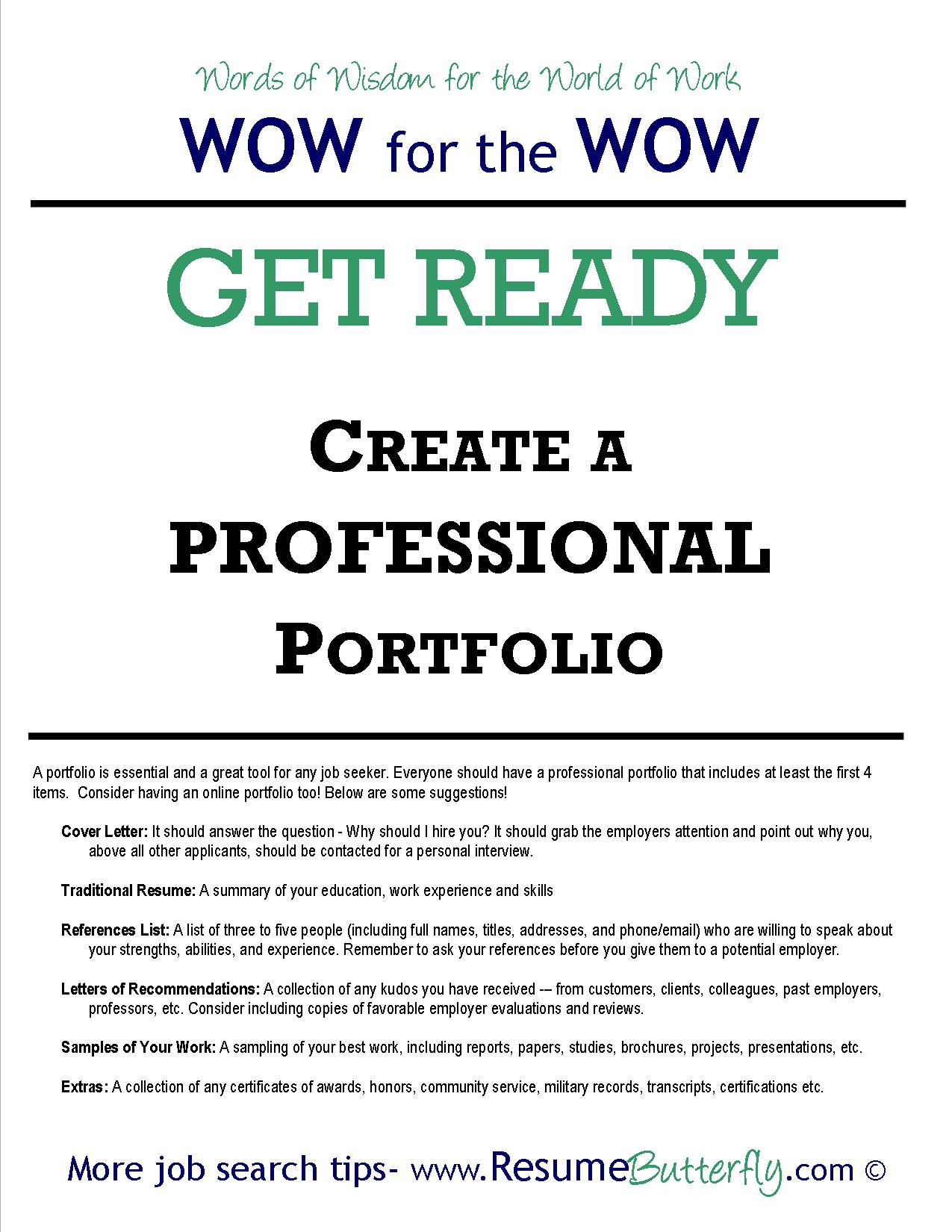 how to create a professional job search portfolio resume butterfly job search portfolio job search skills resume butterfly get ready professional portfolio