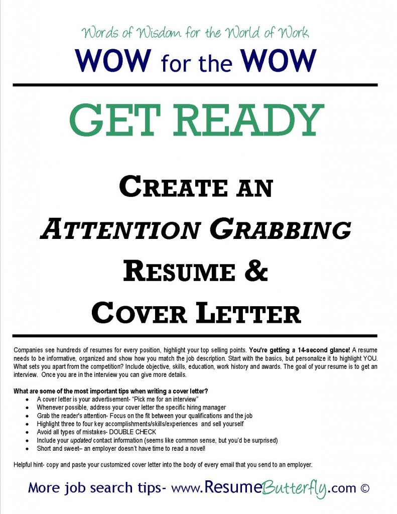 Attention Grabbing Resume & Cover Letter Job Search Skills - Resume Butterfly - Get Ready - Resume and Cover Letter