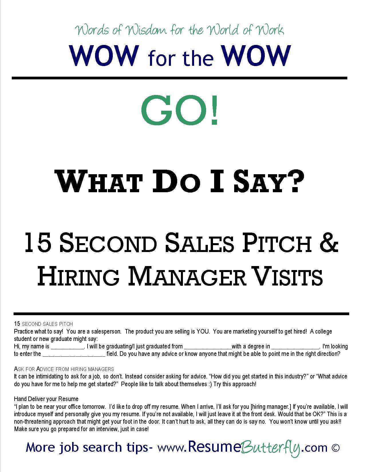 wow for the wow - job search skills - resume butterfly - go - 15 second sales pitch