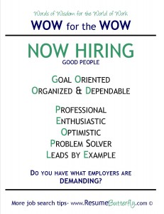 WOW for the Wow - Job Search Skills - Resume Butterfly - Now Hiring ...