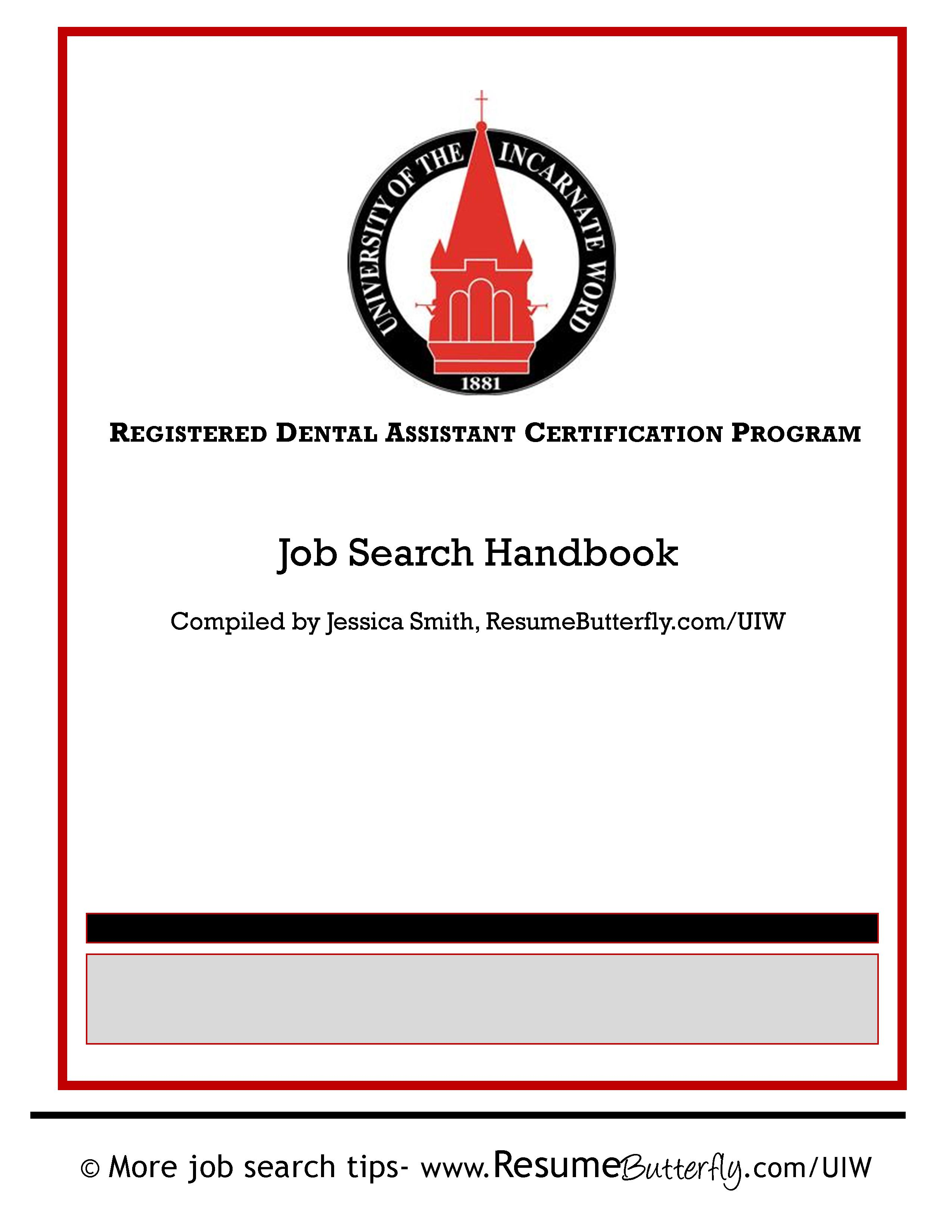 UIW cover - Dental Assistant Job Search Handbook - Resume Butterfly ...